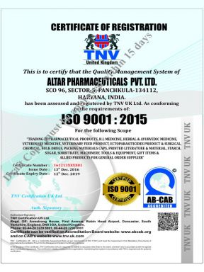 Altar Pharma Pvt Ltd - ISO Cert - Zodak Healthcare