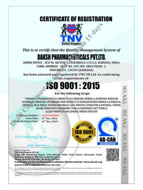 Daksh Pharma Pvt Ltd - ISO Cert - Zodak Healthcare