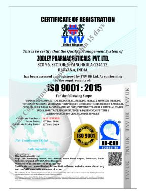 Zodley Pharma Pvt Ltd - ISO Cert - Zodak Healthcare